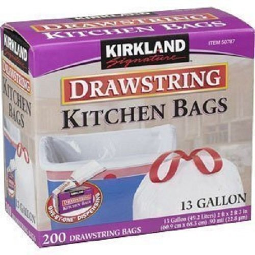 Kirkland Signature Drawstring Kitchen Trash Bags - 13 Gallon - 200 Count (Trash Can Kitchen 13 Gallon compare prices)