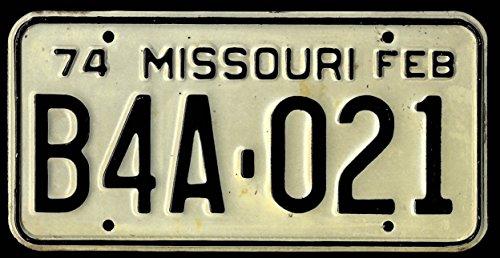- PAIR Missouri license plates 1974 B4A-021 used