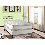 Mattress Solution, 302y-5/0-2 12-Inch Plush Pillow Top, Orthopedic Double-Sided Mattress and Box Spring/Foundation Set, Princess Collection, Queen Size, White with black tape