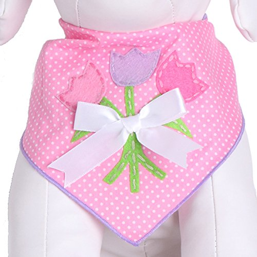 Picture of Tail Trends Easter Dog Bandanas with Tulip Applique Design - 100% Cotton (M)