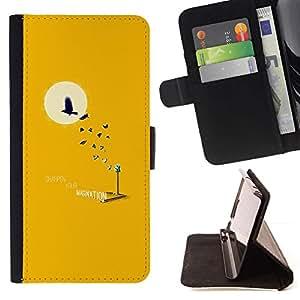 For Samsung Galaxy Note 3 III Case , Pájaro Árbol minimalista Luna Sol- la tarjeta de Crédito Slots PU Funda de cuero Monedero caso cubierta de piel