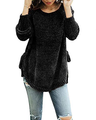 Womens Pullover Sweaters Plus Size Cable Knit Crew Neck Long Sleeve Split Side Tie Knot Fall Jumper Tops Black