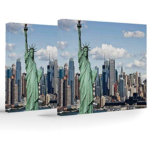 Canvas Print,New York,Wall Decorations for Home Living Room Bedroom Bathroom Lake House,Statue of Liberty in NYC Harbor Urban City Print Famous Cultural Landmark Picture - Liberty House Lake