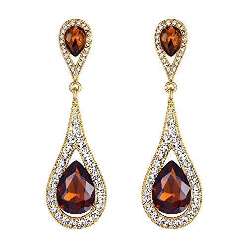 EVER FAITH Women's Austrian Crystal Elegant Dual Teardrop Pierced Dangle Earrings Brown Gold-Tone