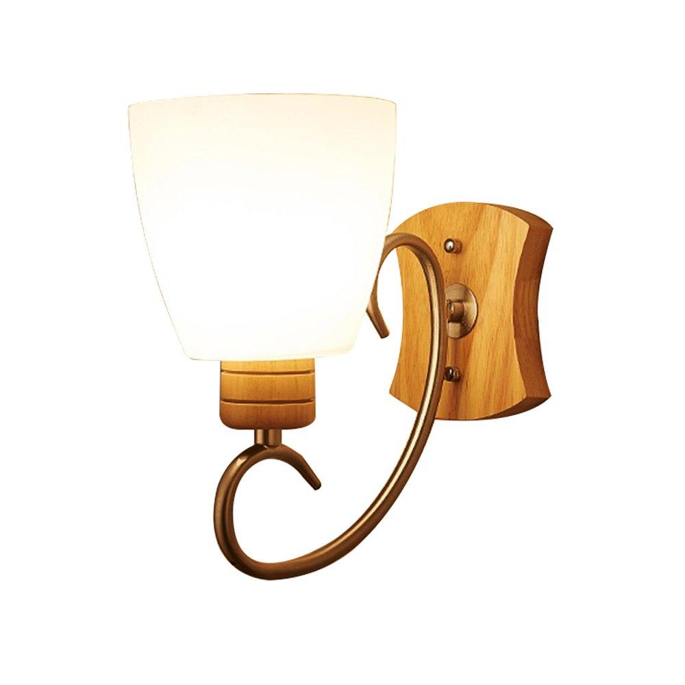 negozio d'offerta JXJJD Lampada da parete in in in legno massello - sorgente luminosa a LED per camera da letto soggiorno (dimensioni   A 1lamp)  una marca di lusso