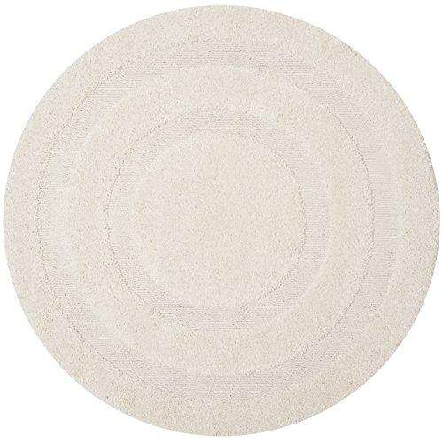 Safavieh Shadow Box Shag Collection SG454-1111 Cream Round Area Rug (4' Diameter) (Shag Round Rugs)