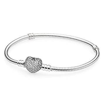 6b4374ff2 Amazon.com: PANDORA Pave Heart Signature Bracelet with Clear CZ ...