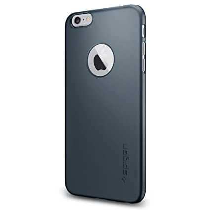 pretty nice 12684 72595 Spigen Thin Fit A iPhone 6 Plus Case with Premium SM Coated Matte Hard Case  with Logo Cutout for iPhone 6S Plus / iPhone 6 Plus - Metal Slate