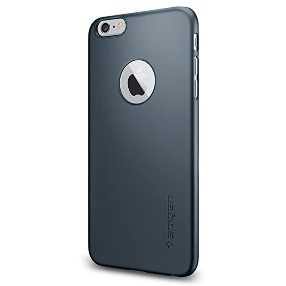 pretty nice 8ccd8 eebde Spigen Thin Fit A iPhone 6 Plus Case with Premium SM Coated Matte Hard Case  with Logo Cutout for iPhone 6S Plus / iPhone 6 Plus - Metal Slate