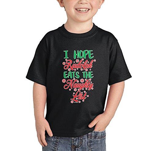 I Hope Rudolph Eats The Naughty List T-shirt (Black, 3T)