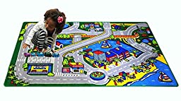 Mybecca Kids Rug Harbor Children Area Rug 5\' X 7\' (New Street Map Design) Race Track and Resting Area