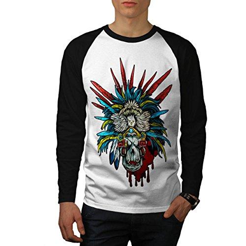 [Skull Indian Warrior Costume Men NEW L Baseball LS T-shirt | Wellcoda] (Mayan Warrior Costumes)