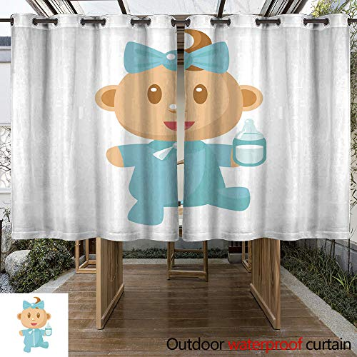 WinfreyDecor Outdoor Curtain for Patio Small Happy Baby Walking in Blue Pajama Holding A Milk Bottle Vector Simple Illustrations with Cute Infant W96 x L72 ()