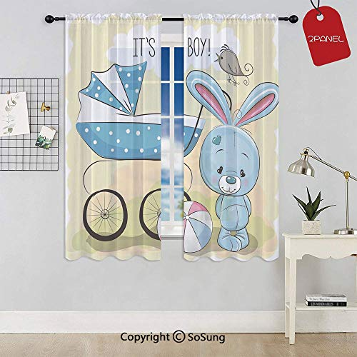 SoSung Cute Bunny Baby Carriage and Ball Its Boy Kids Design Rod Pocket Sheer Voile Window Curtain Panels for Kids Room,Kitchen,Living Room & Bedroom,2 Panels,Each 52x63 Inch,Avocado Green Blue