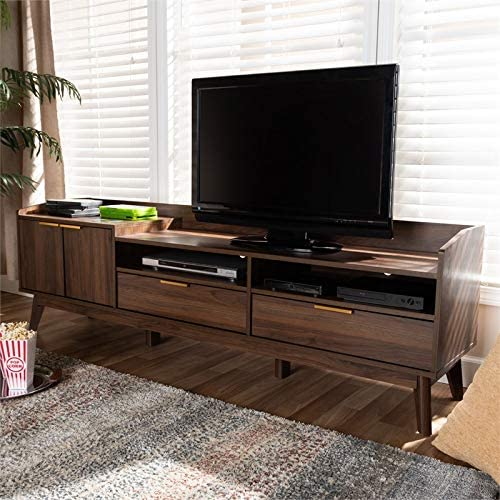 Baxton Studio Mid-Century Lena Wood 70 W TV Stand with Storage in Walnut Brown