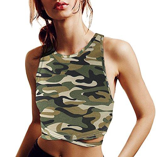 IRISIE Womens Slim Jersey Solid Cross Back Crop Top Yoga Sport Bra Tank T Shirt (Small, Camo) (Womens Sports Bra Top)
