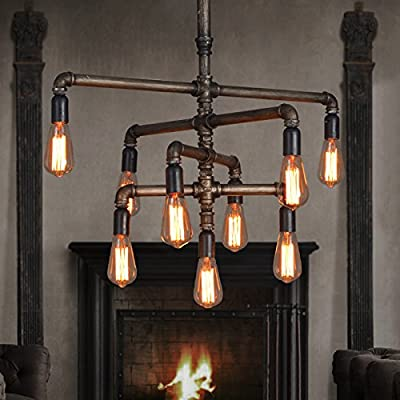 SEOL-LIGHT Barn Adjustable Pipe Chandeliers with 9 light(Industrial-Style)Max 540W Metal Fixture,Dinning Table,Bar,Foyer,Entry way - Lamp Body Size:32(h)x30(W)inch/Hang from a 31.5 inches'chain. Color:Saturated Coppery with little Black shadow painted finished. Vintage American Style,Barn,Rustic,Antique/Made by Real Water Pipe; - kitchen-dining-room-decor, kitchen-dining-room, chandeliers-lighting - 51yTX4K6MZL. SS400  -