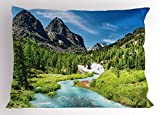 Mountain Pillow Sham by Ambesonne, Rainforest River Rocky Mountains Scenery Siberia Whitewater Altai Pine Forest, Decorative Standard Size Printed Pillowcase, 26 X 20 Inches, Multicolor