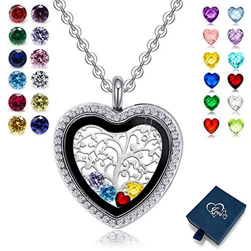 XingYue Jewelry Family Tree of Life Floating Living Memory Love Heart Locket CZ Necklace All Birthstones Include Gift Box (Family Tree Locket ()