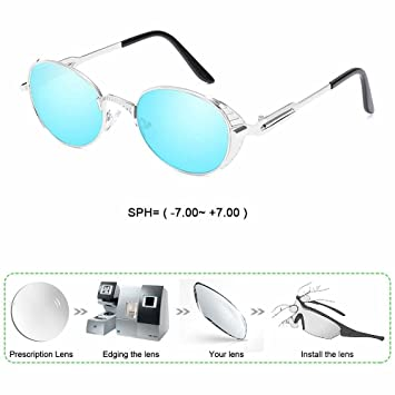 195d62da71 Customize Prescription Sunglasses Myopia Reading Sun Glasses Men Oval  Titanium Alloy Frame Blue Color UV400