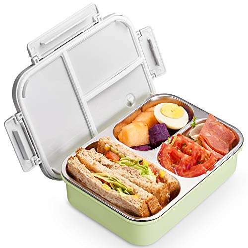 Kids Stainless Steel bento boxes - 2019 New & Improved Leak Proof Bento-Styled Lunch Box Solution Offers Durable, PA-Free and Food-Safe Materials, On-the-Go Meal and Snack Packing