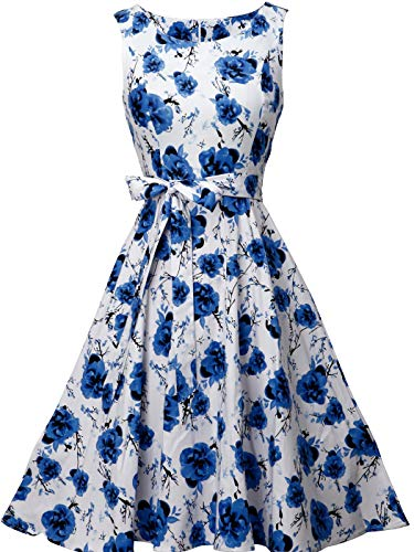 FAIRY COUPLE Women's 1950's Bowknot Vintage Retro Polka Dot Rockabilly Party Swing Dress 2XL White Blue Flowers -
