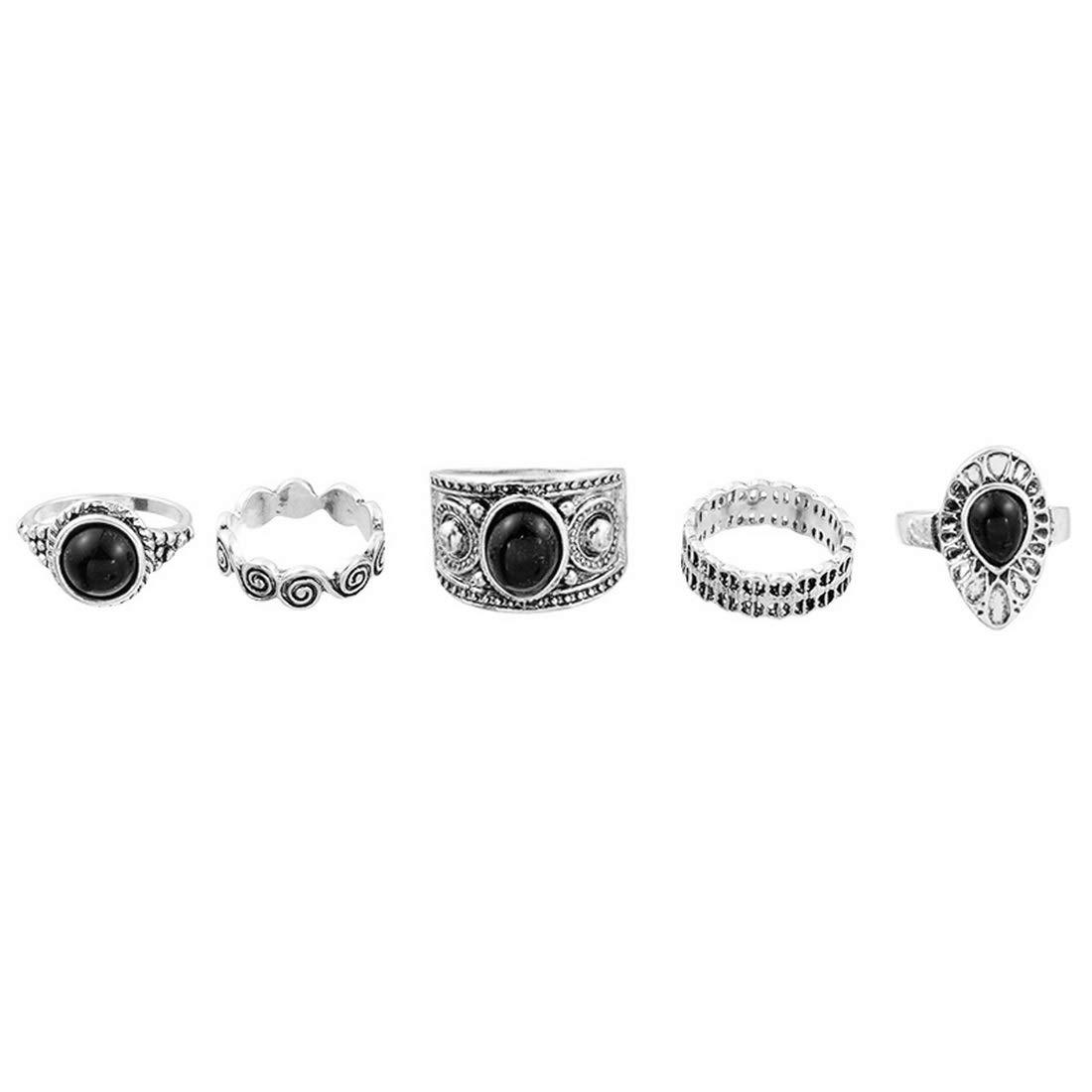 MJARTORIA–Set de bagues Argent Couleur Boho Vintage avec cristal CZ noir et blanc bagues d'amitié XIEHOU XHA0AC1S7AX