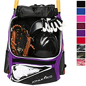 Athletico Baseball Bat Bag – Backpack for Baseball, T-Ball & Softball Equipment & Gear for Youth and Adults | Holds Bat, Helmet, Glove, Shoes |Shoe Compartment & Fence Hook