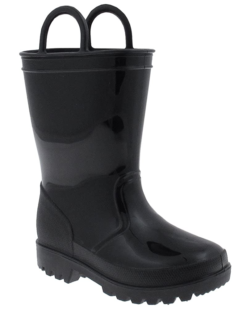 Capelli New York Toddler Boys Shiny Solid Colored Jelly Rain Boot with Handles