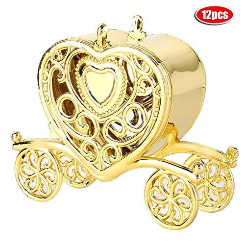AUNMAS 12pcs Romantic Candy Box Heart-Shaped Wedding Gifts Box Banquet Party Decorative Storage Box ()