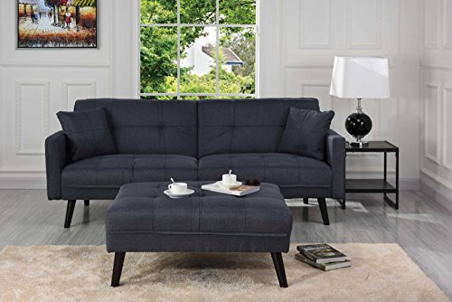 Sofamania Mid-Century Modern Linen Fabric Futon, Small Space Living Room Couch