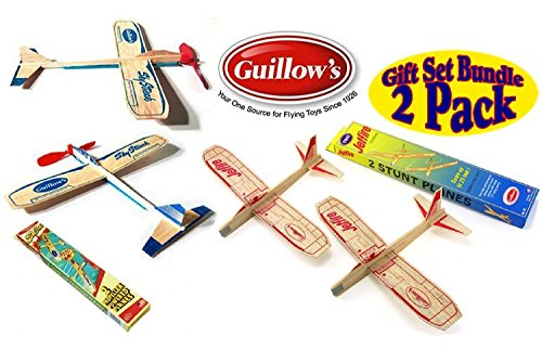 Guillows Balsa Wood Gliders Jetfire Twin Pack & Sky Streak Twin Pack Gift Set Bundle - (4 Planes Total) by Guillow