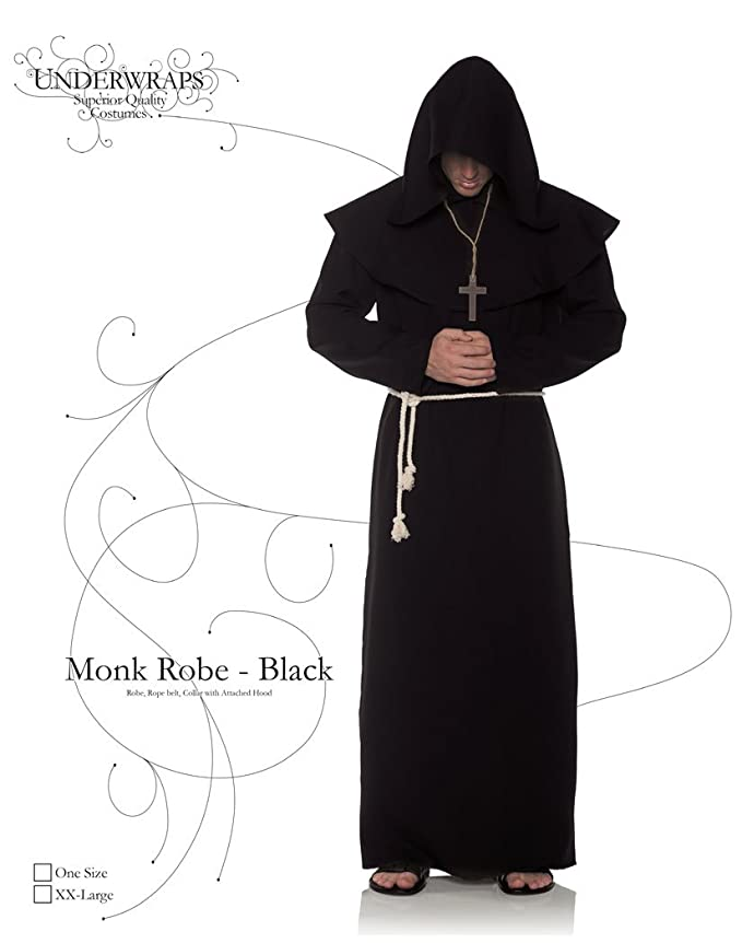 Amazon.com  Underwraps Black Monk Mens Adult Religious Costume Robe   Clothing dedfdd45d