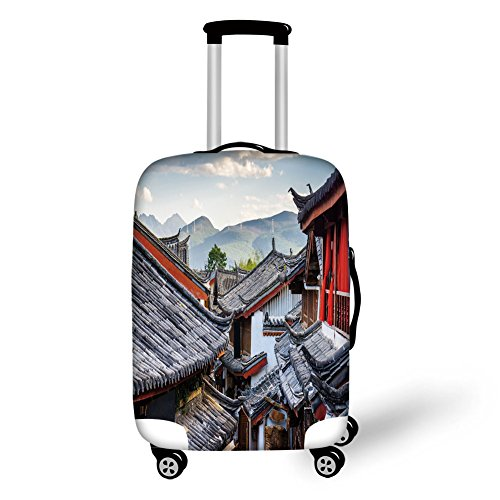(Travel Luggage Cover Suitcase Protector,Ancient China Decorations,Roofs of Houses Ancient Chinese Tiles Scenic View Touristic Town Decorative,Multicolor,for Travel )