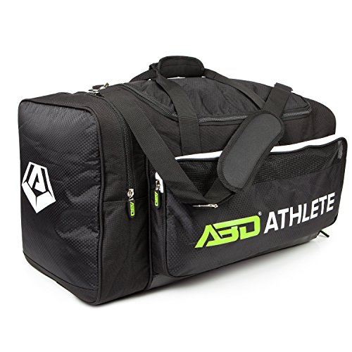 Team Sports Bag - Overnight, Travel & Gym by ABD ATHLETE - ON SALE NOW! Best Multi-Compartment Duffel & Space Saver w/ Built-In Insulated Cooler Compartment (Black/White, Small)