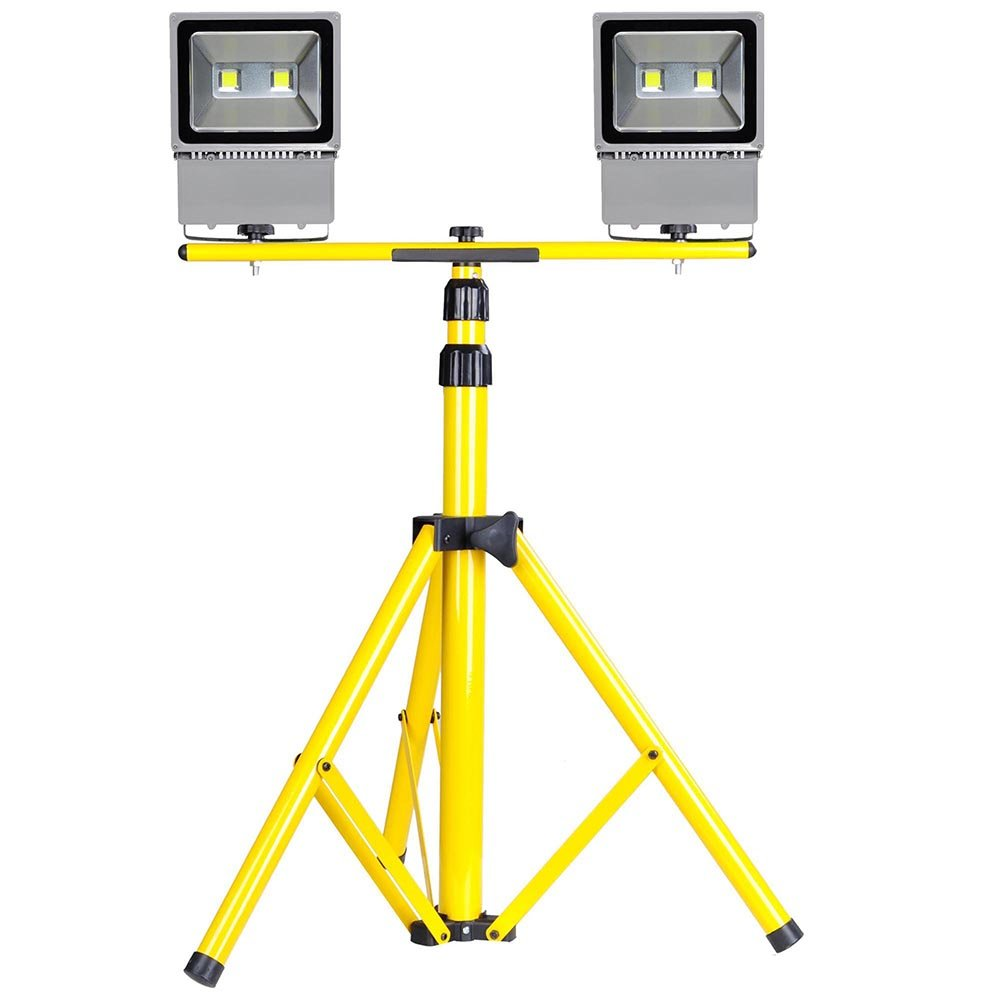 Yescom Twin Head 100W LED Hard-Wired Flood Light 63'' Adjustable Tripod Stand Kit Cool White Work Emergency Lamp Fixture