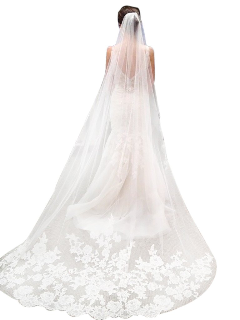 Sisjuly Women's 1T Floral Appliques Lace Chapel Long Wedding Veil with Comb One Size White