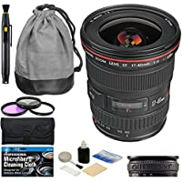 Canon EF 17-40mm f/4L USM Ultra Wide Angle Zoom Lens + Filter Kit + Lens Band + Accessory Bundle