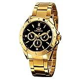 Gold Watches for Men, Men's Gold Stainless Steel Luxury Quartz Watch