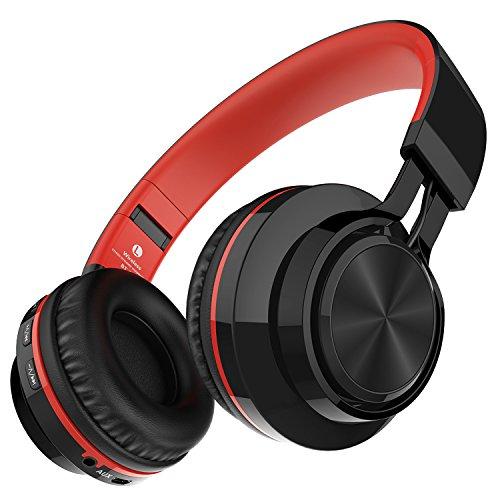 Darkiron Bluetooth drahtloser Kopfhörer: mit eingebautes Mirkrofon, TF Karte, FM Radio und mitgelieferte Audio-Kabel, kompatibel mit meisten Bluetooth-Geräte, Handys, Laptop, TV usw (Rot)