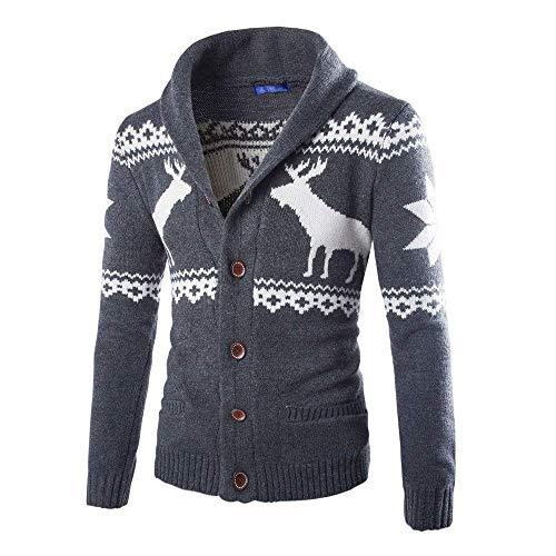 scuro Winter Christmas Knitted Cn grigio Zhrui Men Sweater Jacket 8 Coat colore scuro Muk taglia gxpqwR6qF