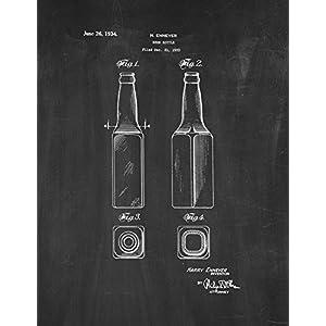 "Beer Bottle Patent Print Art Poster Chalkboard (18"" x 24"")"
