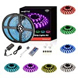 DAYBETTER Led Strip Lights Waterproof 32.8ft Flexible Tape Lights Color Changing 5050 RGB Light Strips Kit with 44 Keys IR Remote Controller and 12V Power Supply for Home, Bedroom, Kitchen
