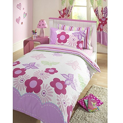 Girls Sunny Days Floral Butterflies Reversible Pink & White Junior Cot Bed Duvet Cover Bed Set by Kids Club