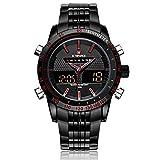 Naviforce Dual Time Men's Quartz Waterproof Wrist Watch Stainless Steel Causal Multifunctional Watch with Gift Box 9024