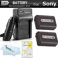 2 Pack de baterías y cargador para Sony Cyber-Shot DSC-HX100V, DSC-HX200V La cámara digital digital incluye 2 baterías NP-FH50 de reemplazo extendidas (1000mAh) + Ac /Dc Cargador de viaje rápido + Protectores de pantalla LCD + Paño de limpieza de