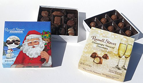 Russell Stover Christmas Champagne flavored Chocolates and Assorted Chocolate 10 pieces, 2 gift boxes set.