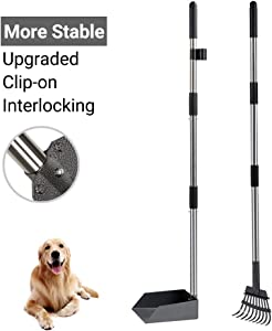 Heeyoo Upgraded Dog Poop Tray and Rake Set, Pet Waste Removal Scoop with 37.8 Inches Long Adjustable Sectional Stainless Handles
