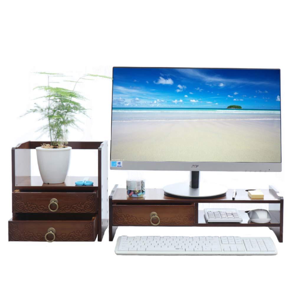 LIULIFE Computer Monitor Stand Laptop Riser Holder for Office Home Desktop Storage Organiser, with Drawer,Darkbrown-Combination