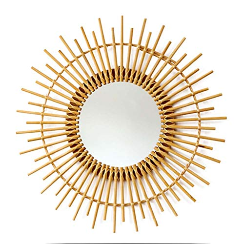 Rattan Round Decorative Mirrors Woven Wall Hanging Mirror Vintage Moroccan Style Halo - Bathroom Rattan Standing Mirrors